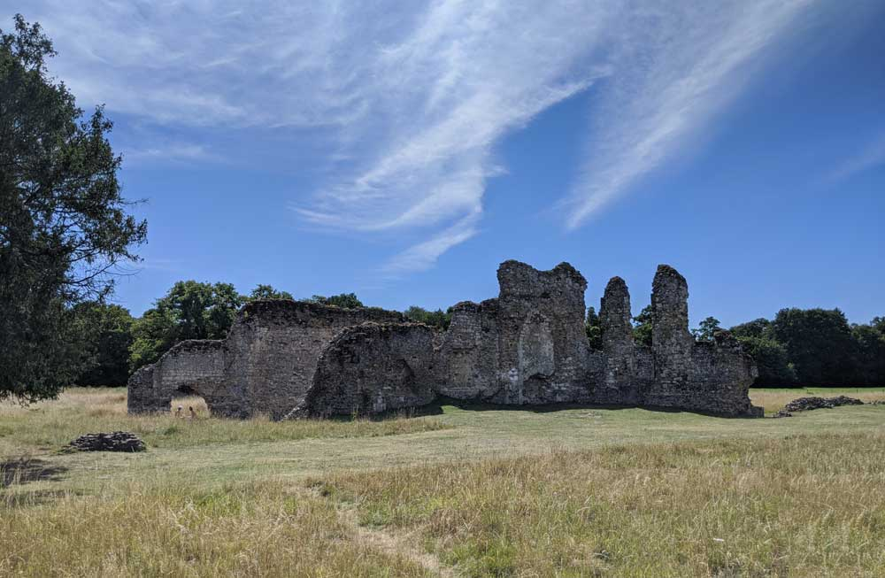 View of Waverley Abbey Ruins from well kept grass, Surrey
