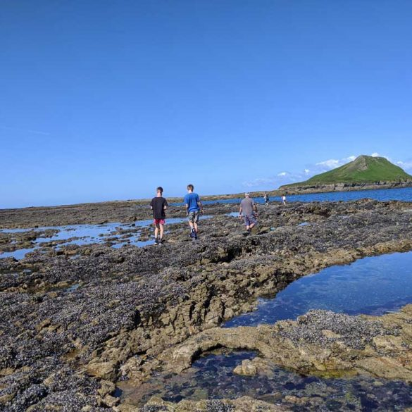 Boys clambering over rocks across Worms Head Causeway Rhossili Bay