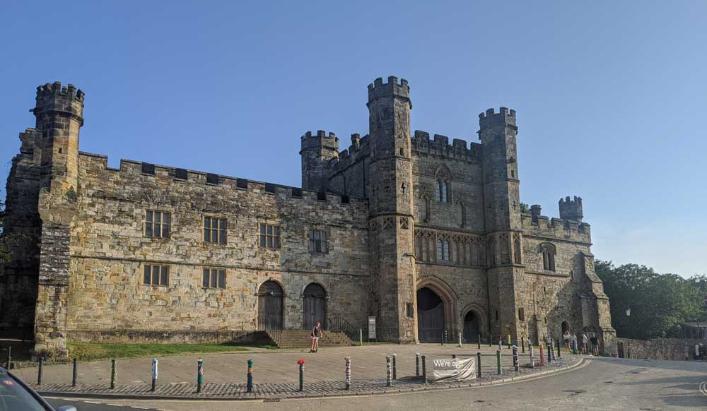 View of magnificent Gatehouse frontage of Battle Abbey, Battle, Sussex, England
