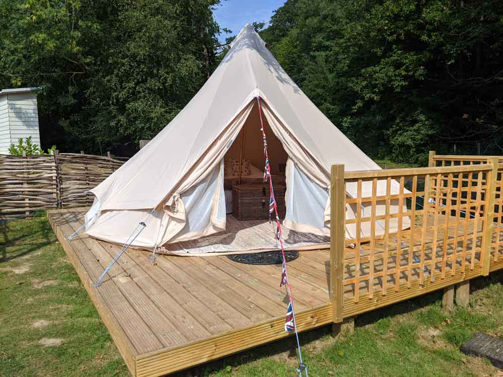 Bell Tent Glamping at Brakes Coppice Campsite, Battle, East Sussex, England