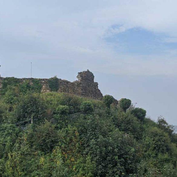 Ruins of Hastings Castle, looking down on Hastings, Sussex