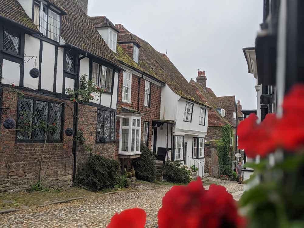 View of old houses, cobble street, Mermaid Street, Rye, Sussex