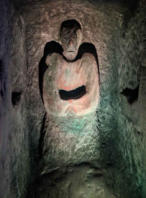 Carved Figure in the caves at Smugglers Adventure, Hastings, Sussex