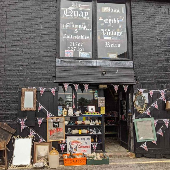 Shop front at The Quay, Antiques and Collectables, Rye, East Sussex, England