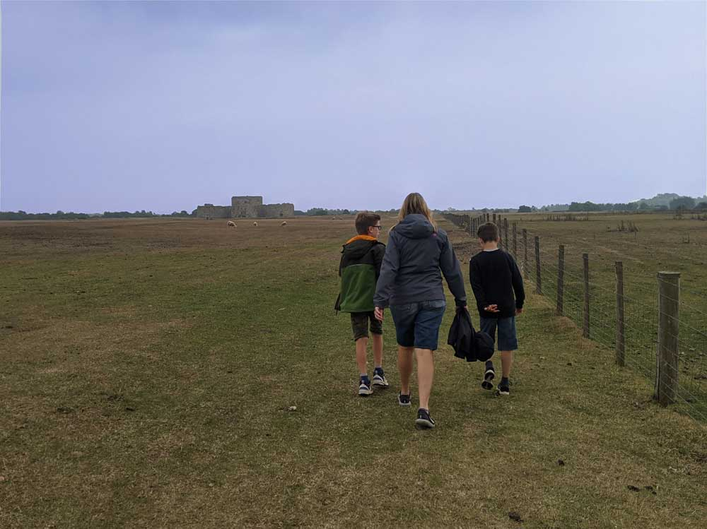 Walking to Camber Castle, Rye, Sussex