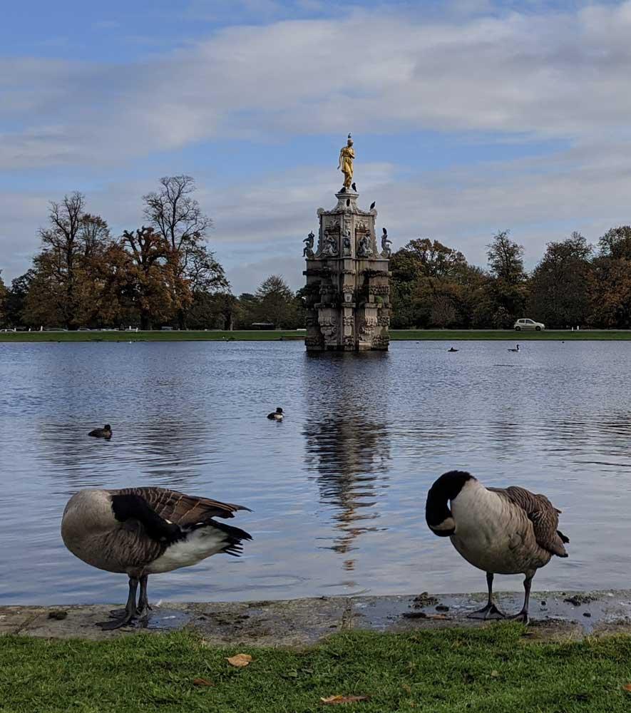 View of Diana Fountain, Bushy Park, Greater London, UK