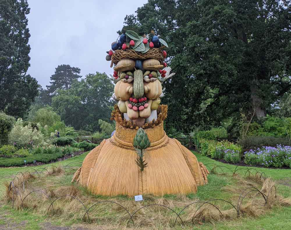 Statue/Bust made from seasonal vegetables and fruit at RHS Wisley Gardens, Woking, UK