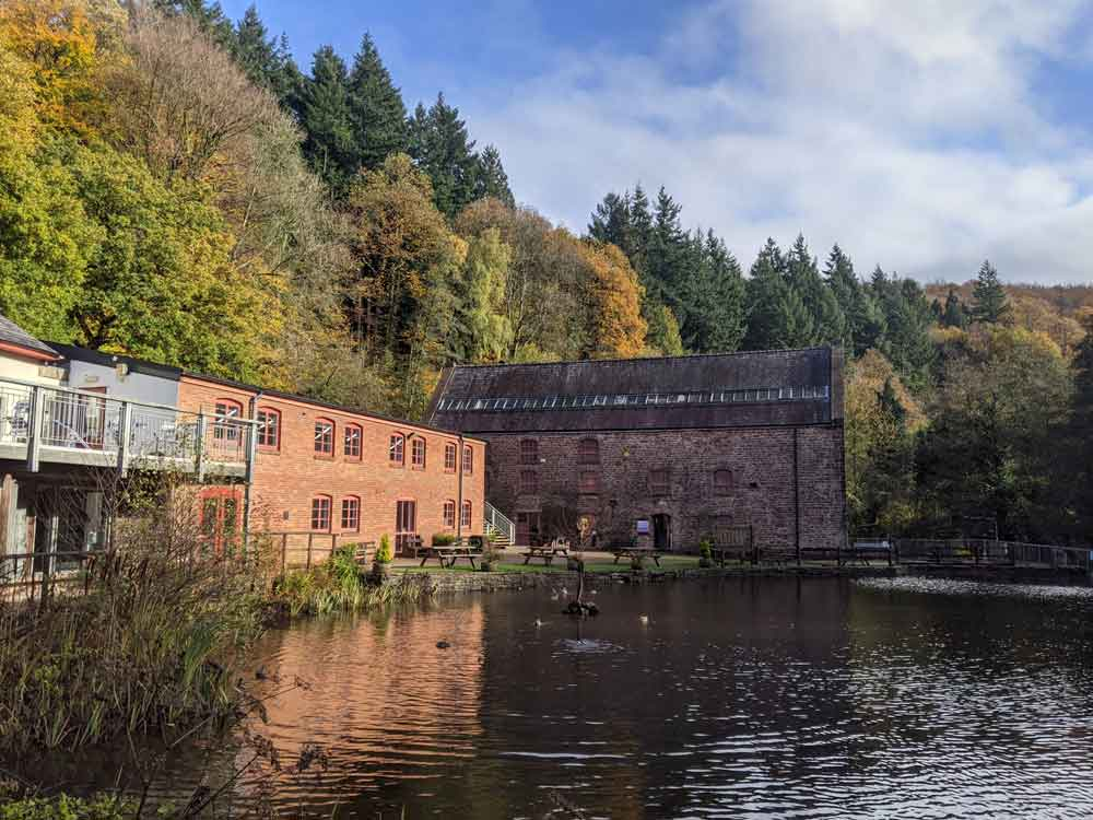 View of Dean Heritage Centre buildings across pond, Wye Valley, UK