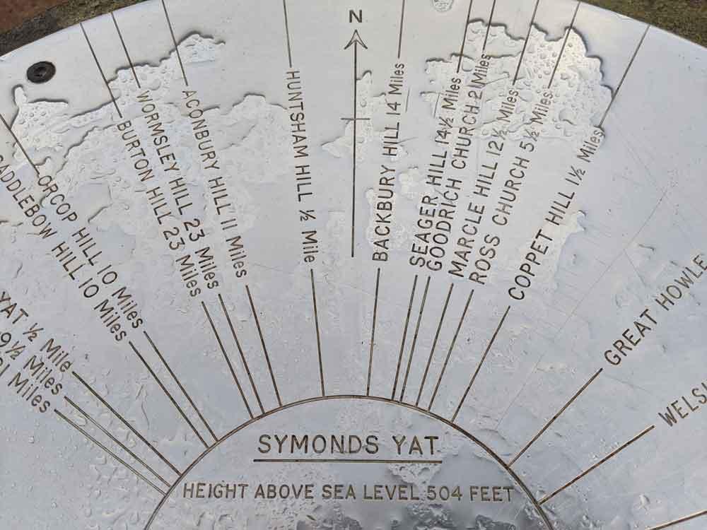 Symonds Yat Rock Marker, Wye Valley, Gloucestershire, UK