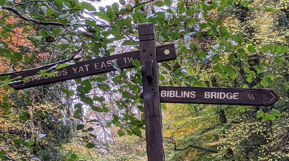 Walkway signs, Symonds Yat, Gloucestershire, UK