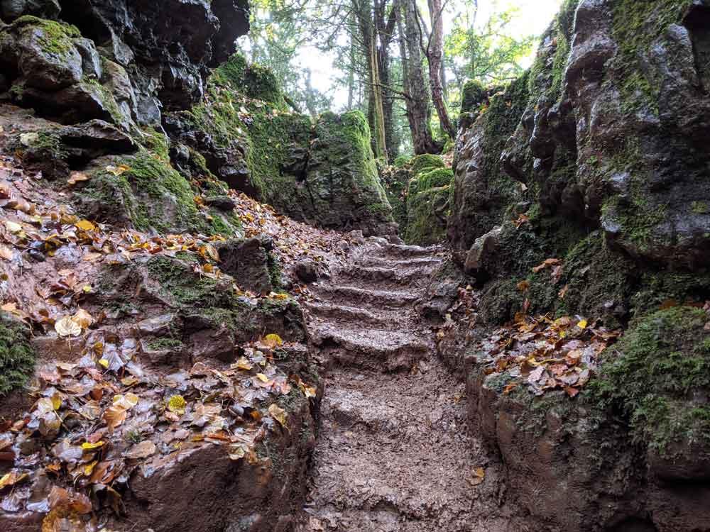 Muddy Steps between rocks, Exploring Puzzlewood, Coleford, UK