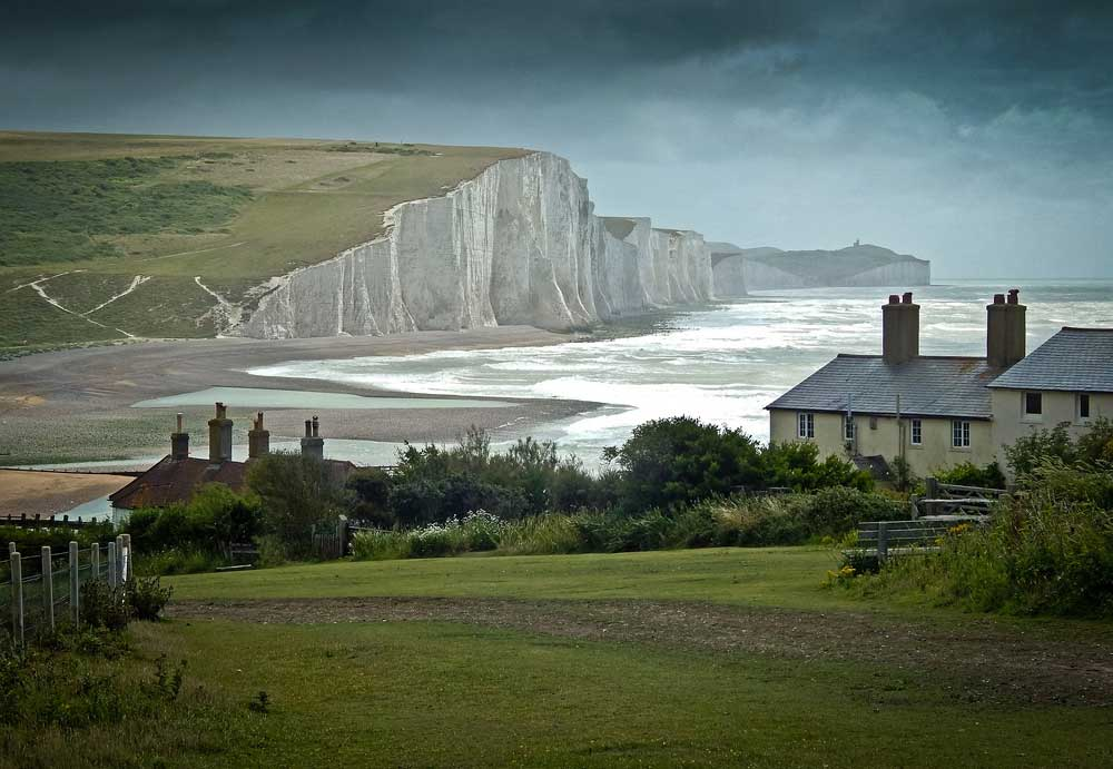 View of the white cliffs of Seven sisters from cuckmere, sussex