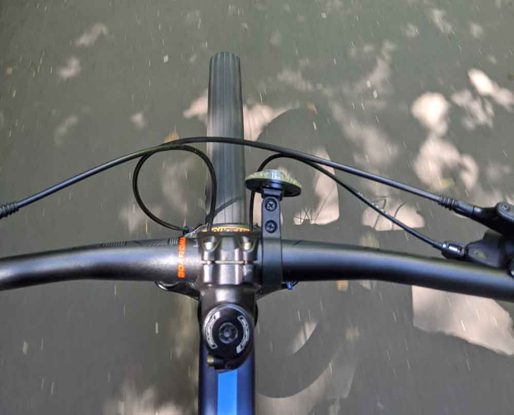 Looking down on Bike handle bars