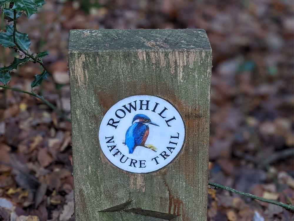 Nature Trail sign with Kingfisher, Rowhill Nature Reserve. North Hampshire