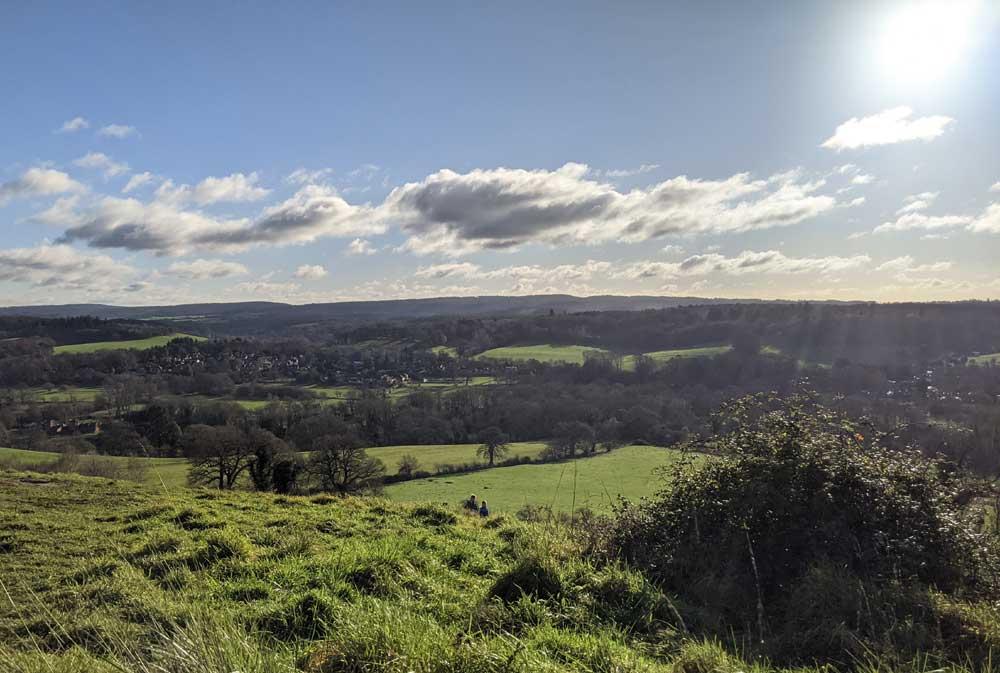 View across rolling Surrey Hills