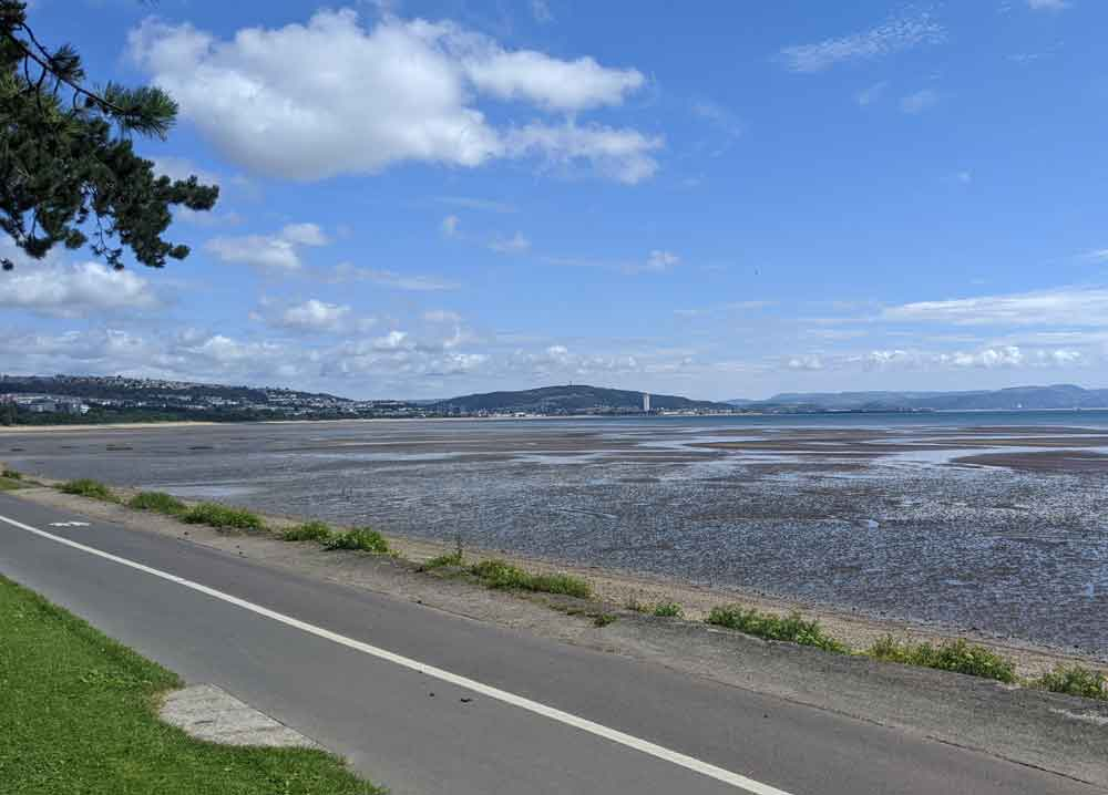 View of Swansea from Mumbles Cycle path, Wales, UK