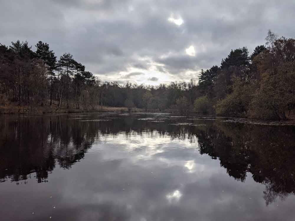 Reflection of trees and grey clouds at Wyndham's Pool, Yateley Common, Hampshire, UK
