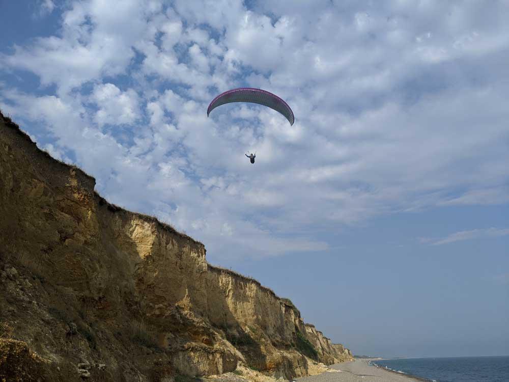 Paraglider on Beach at Weybourne, Norfolk, UK