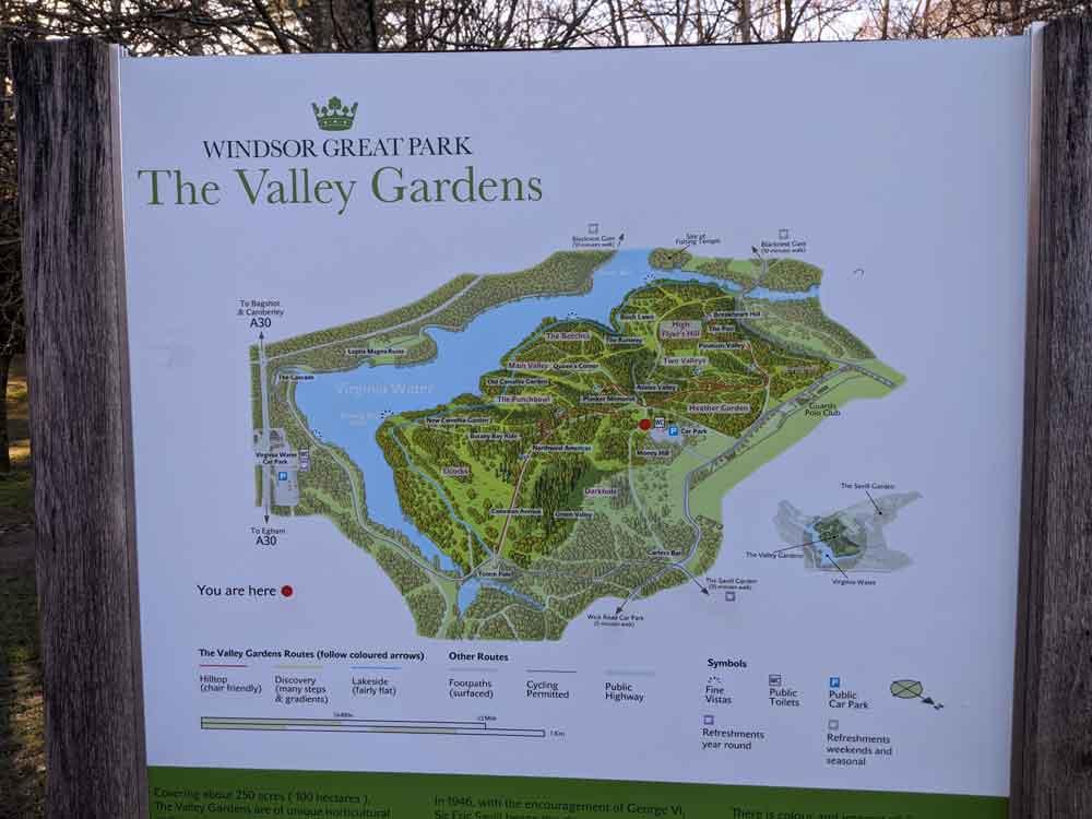 Map of the valley gardens, Virginia Waters, Surrey, UK