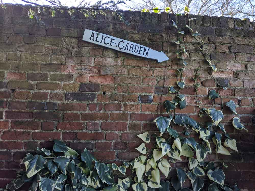 Alice's Garden Sign, Guildford, Surrey, UK