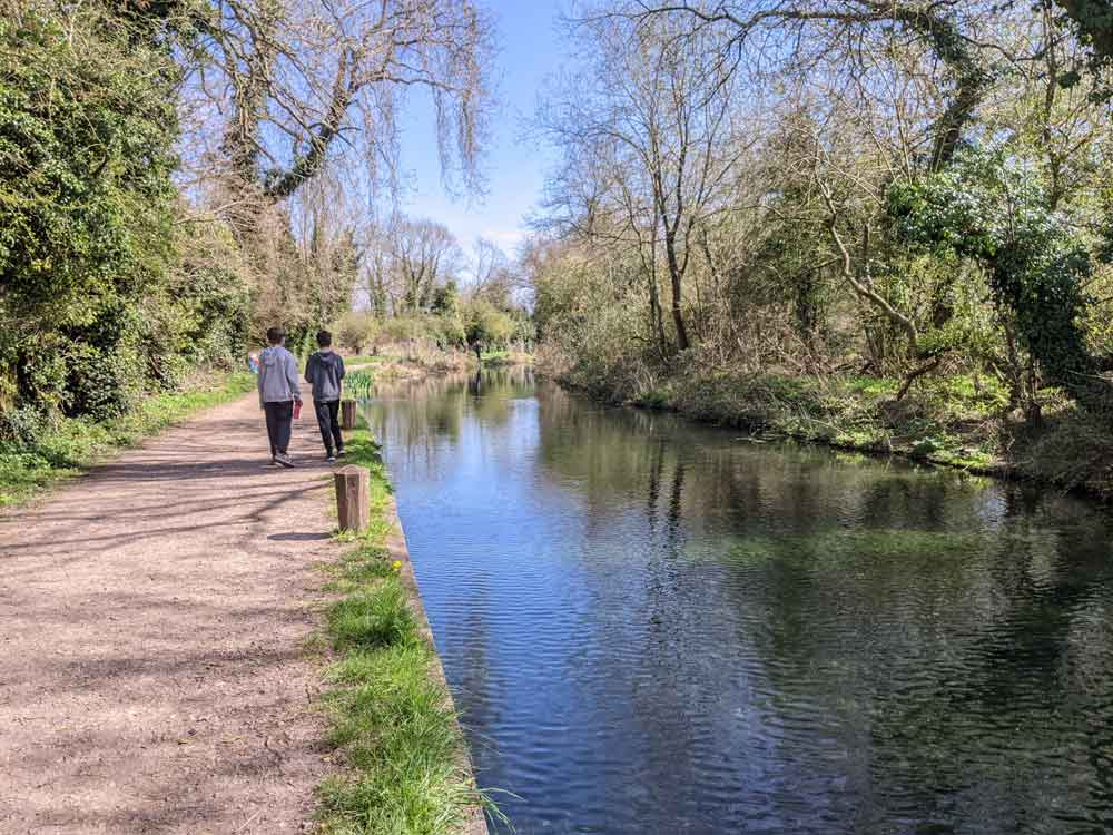 Children at Basingstoke Canal, Hampshire, UK