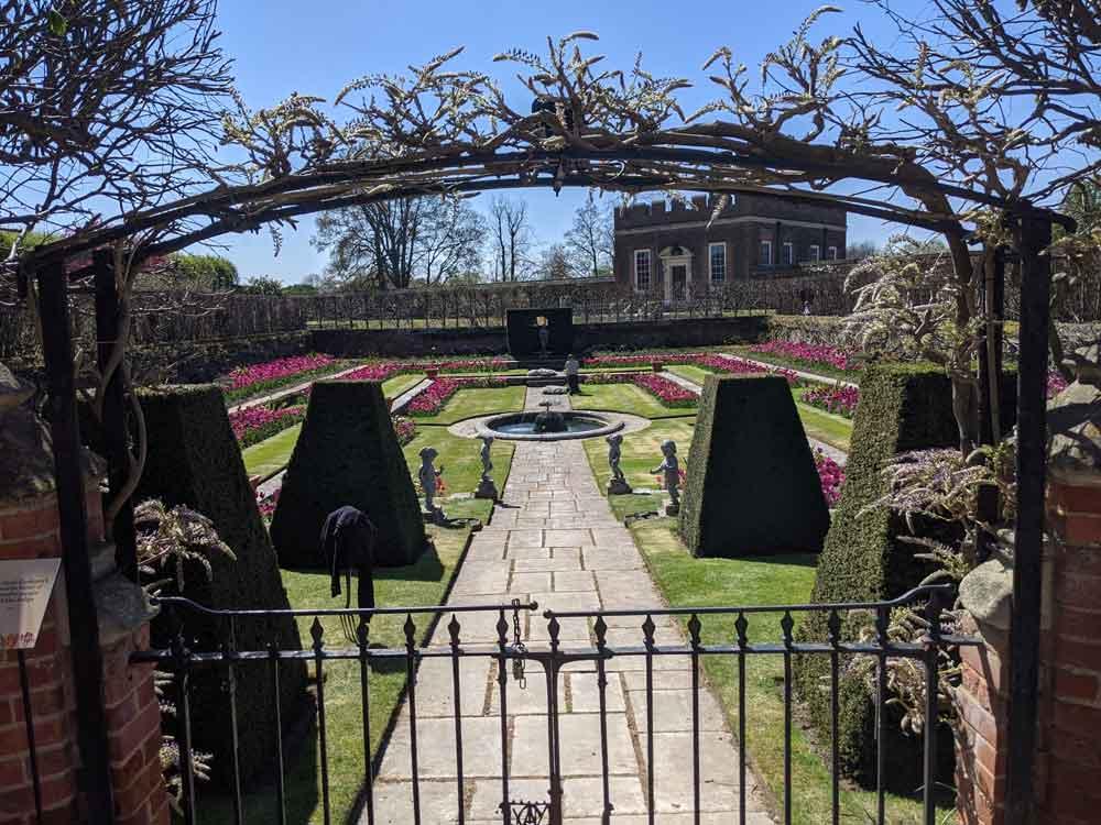 Views of formal Pond Garden at Hampton Court Palace, Surrey, UK