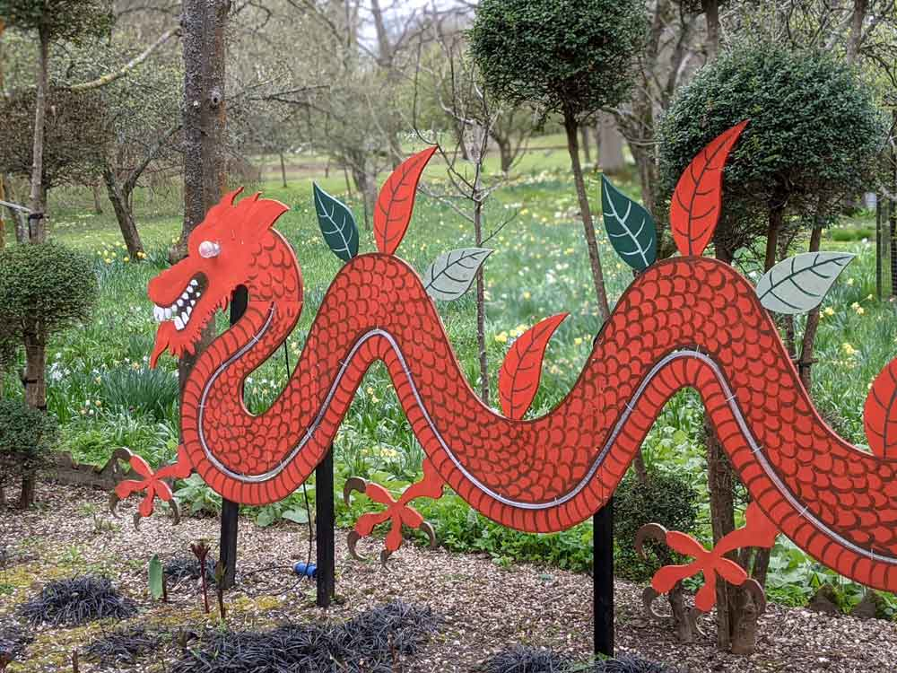 Red Dragon in Dragon Garden, West Green House, Hampshire, UK