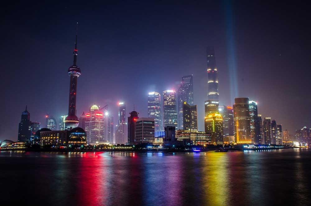Shanghai city view at night, China