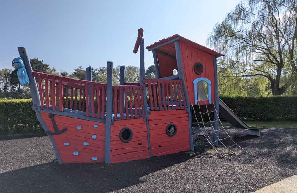 Play boat in the sensory garden, California Country Park, Berkshire, UK