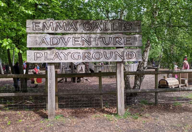 Sign post for Emma Sallis Adventure playground, Black Park, Buckinghamshire, UK