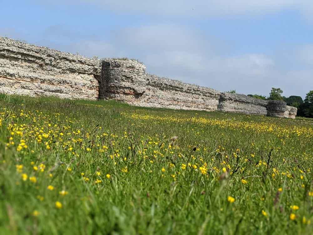 Burgh Castle walls, South Broads, Norfolk, UK