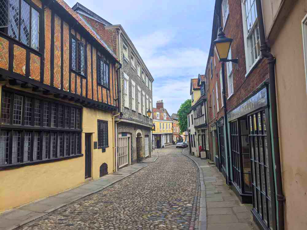 View of the Elm Hill Street, Norwich, UK