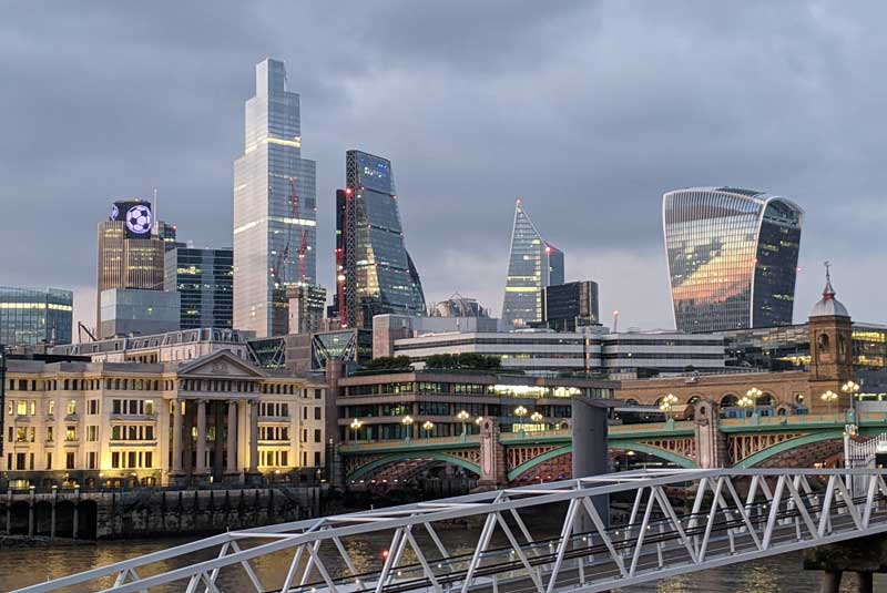 View of the City of London, UK