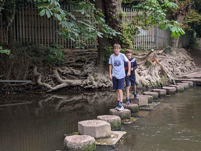 Kids on stepping stones, Box Hill, Surrey, UK